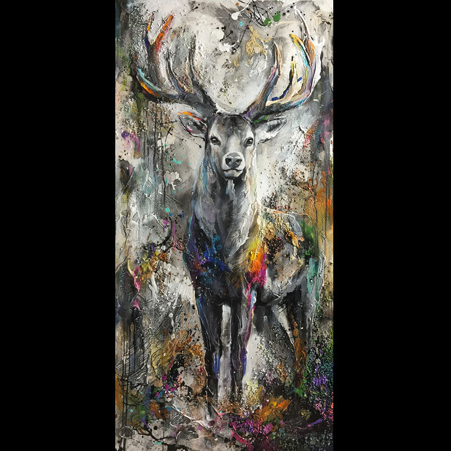 Here and Now original mixed media deer painting by artist Miri Rozenvain at raitman art galleries