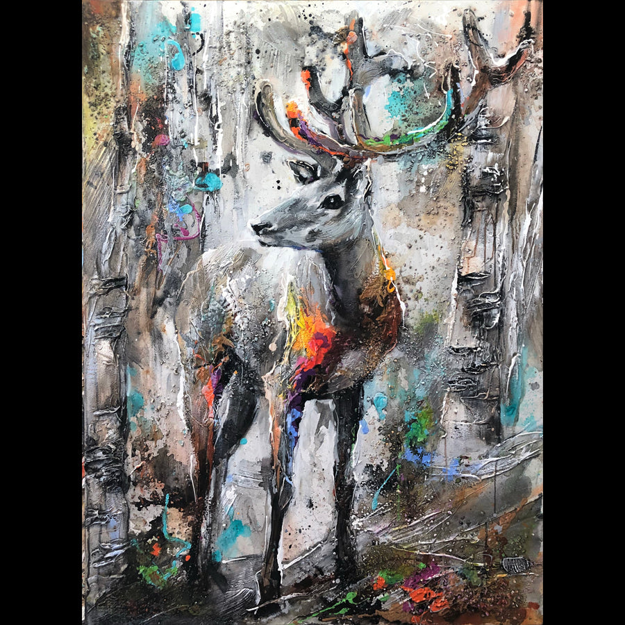 Hey There Original Deer Painting by Artist Miri Rozenvain