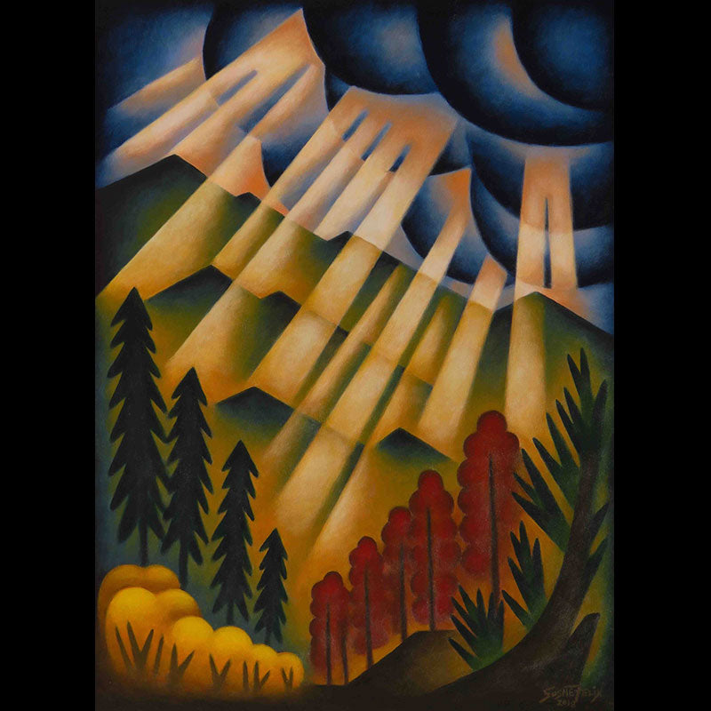 High Mountain Storm original acrylic on panel landscape painting by Colorado artist Sushe Felix