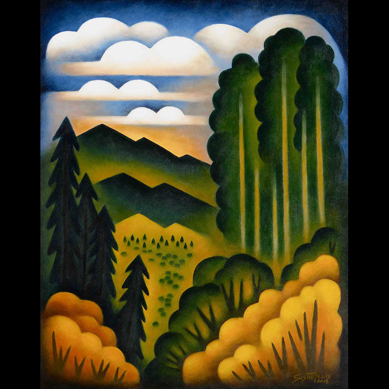High Valley Aspen original acrylic on panel landscape painting by Colorado artist Sushe Felix
