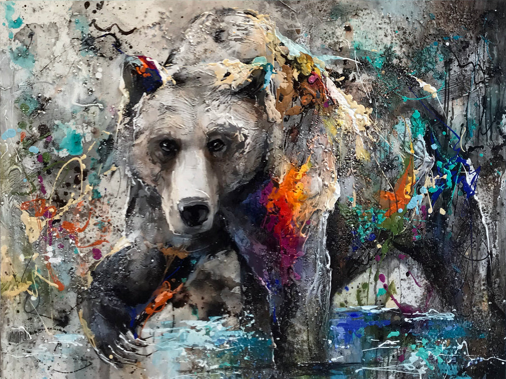 Hold Your Head Up High Original Bear Painting by Artist Miri Rozenvain