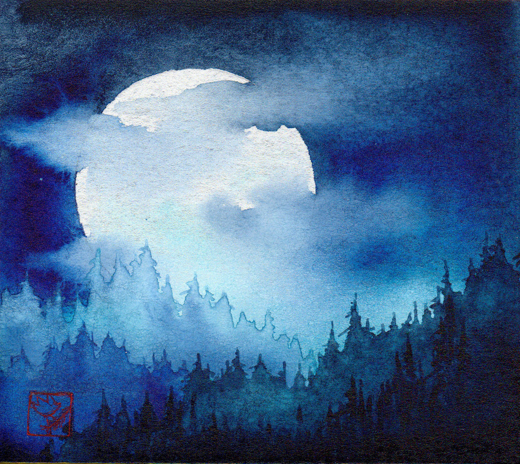 Hunters Moon original watercolor landscape by Jackson Hole Wyoming artist Kay Stratman