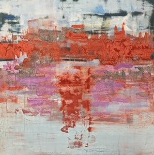 Red December Frost original oil venetian plaster colorado artist Kristof Kosmowski