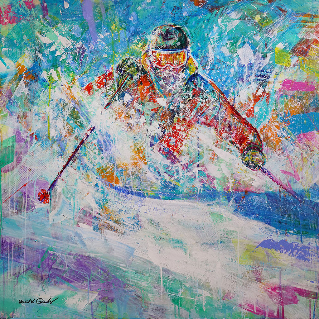 In the Deep original acrylic on panel ski painting by artist David Gonzales