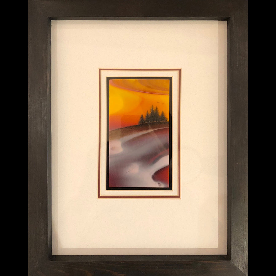 Impressive Light original glass fired powder painting by Colorado artist Gary Vigen