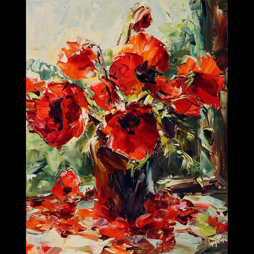 In Sun Rays is a painting of poppies by Colorado Artist Lyudmila Agrich