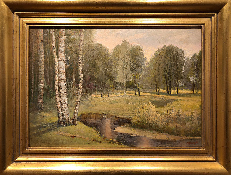 In The Park original oil on canvas painting by russian artist Vladimir Pavlovich Krantz