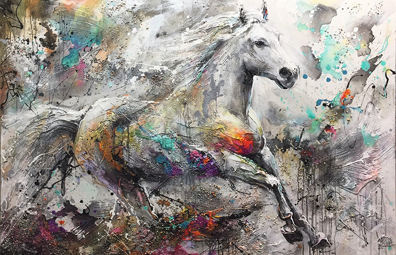 In The Wind original acrlyic on canvas wildlife horse painting by Toronto based artist Miri Rozenvain