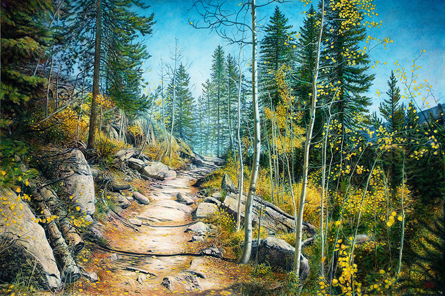In This High Place original oil on canvas landscape painting by Colorado artist Thane Gorek