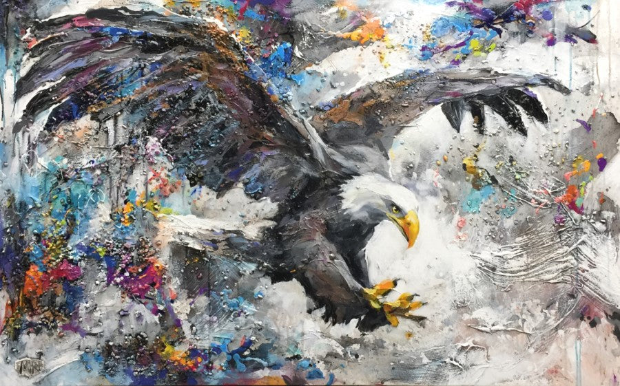 In Action bald eagle painting by Miri Rozenvain