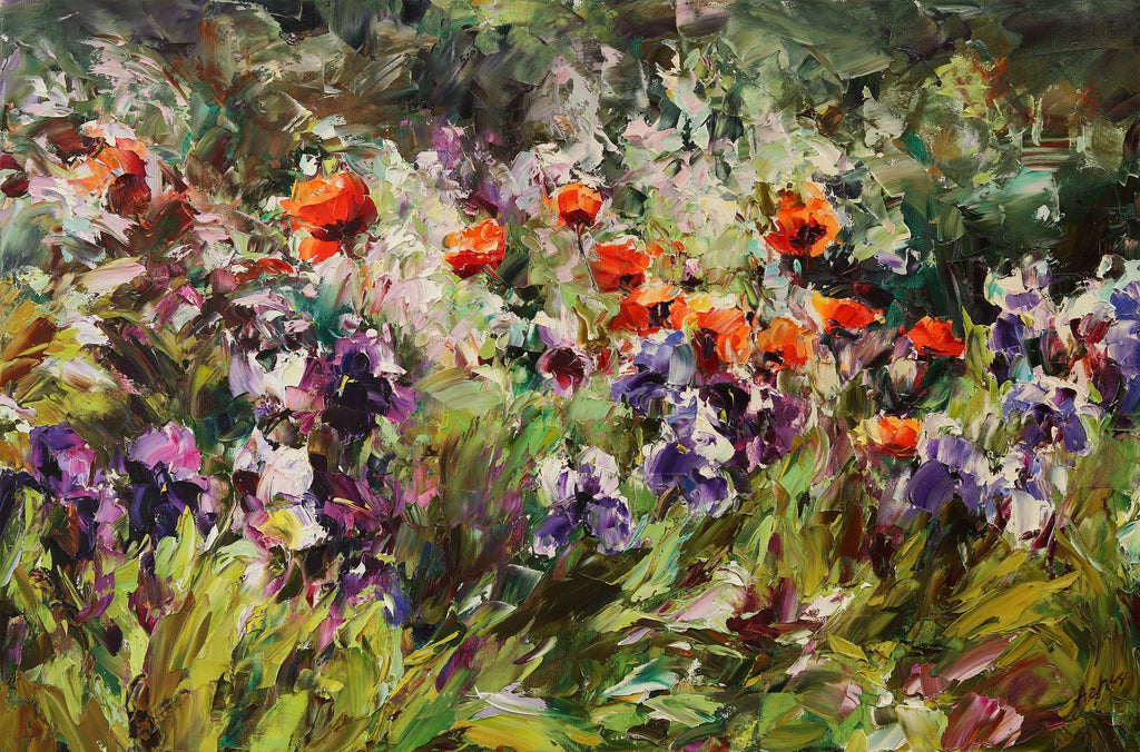 In My Garden original oil on canvas painting by Lyudmila Agrich