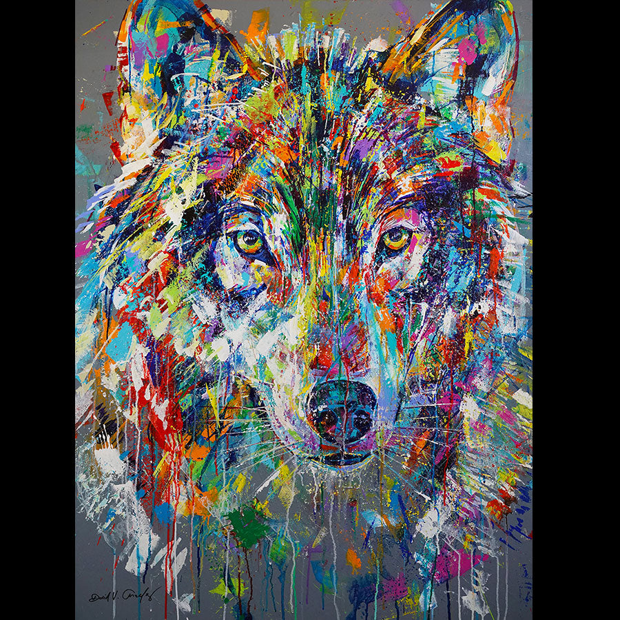 Intuitive original acrylic on panel wolf painting by Colorado artist David Gonzales