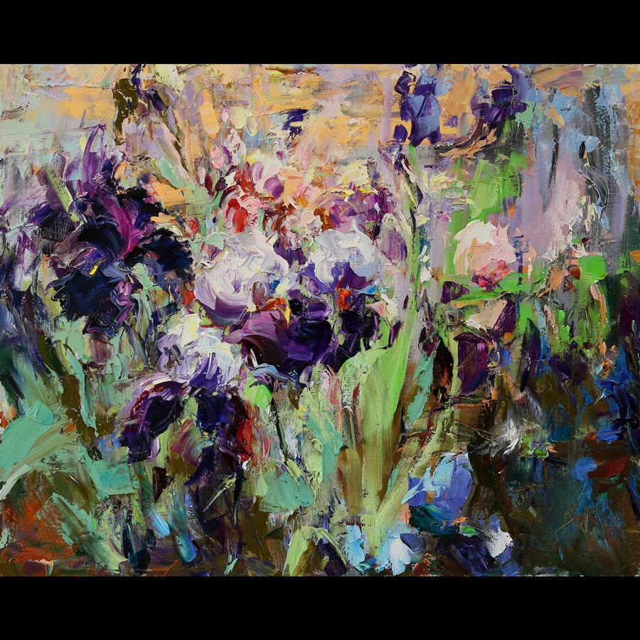 Irises original painting by Lyudmila Agrich for sale at Raitman Art Galleries