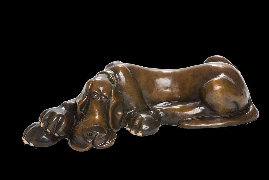 Jake Harvey dog bronze sculpture by artist Marty Goldstein
