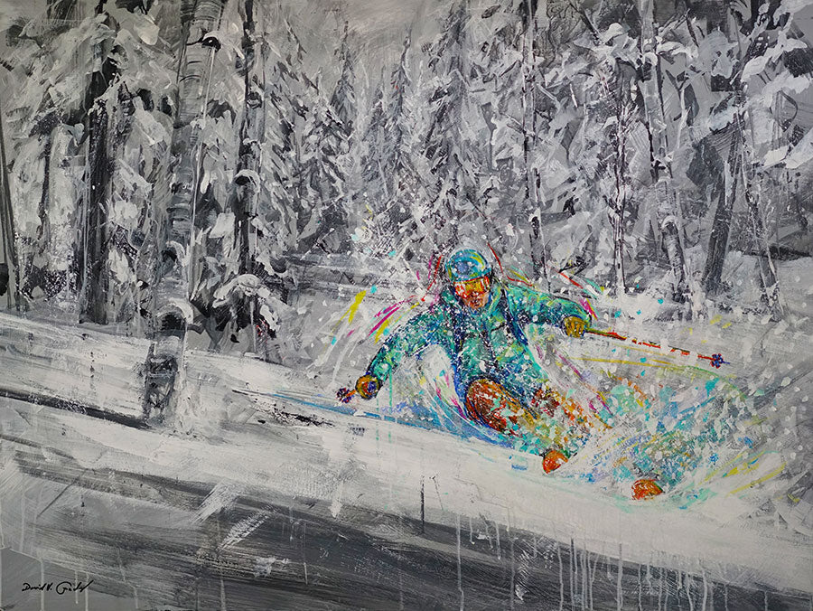 Jubilant Powder original acrylic on panel colorful ski painting by artist David Gonzales