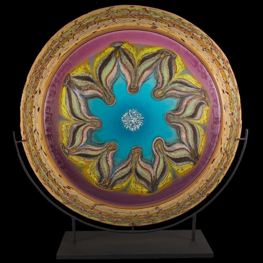 Glass mandala Jupiter series by artists Jared and Nicole Davis from Crawford Colorado North Rim Studio