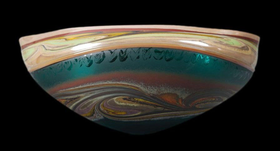 Forest Green Jupiter series hand blown glass art by artists Jared and Nicole Davis from Crawford Colorado North Rim Studio