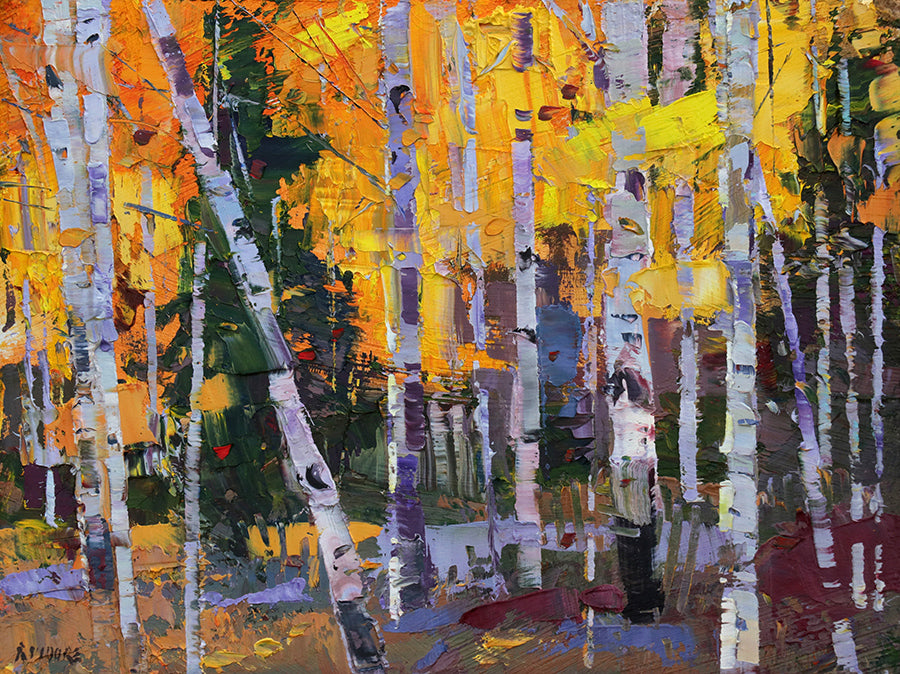 Just Right mountain landscape in the fall by artist robert moore for sale