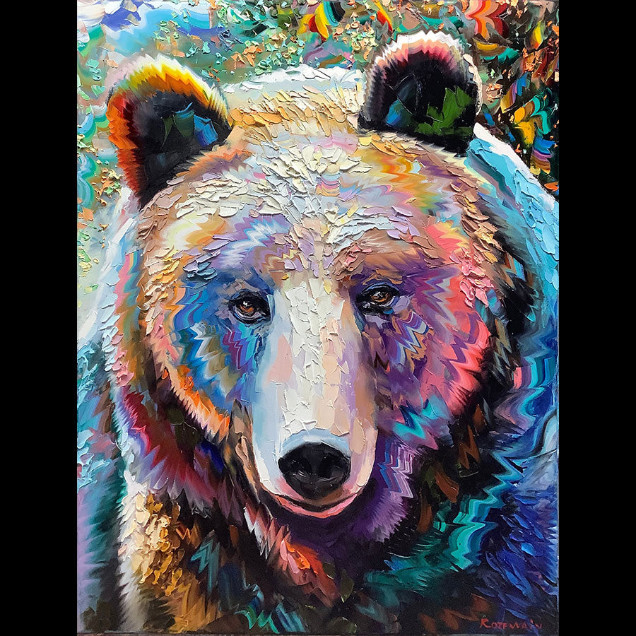 Kind and Fun original oil on canvas wildlife painting by artist Michael Rozenvain