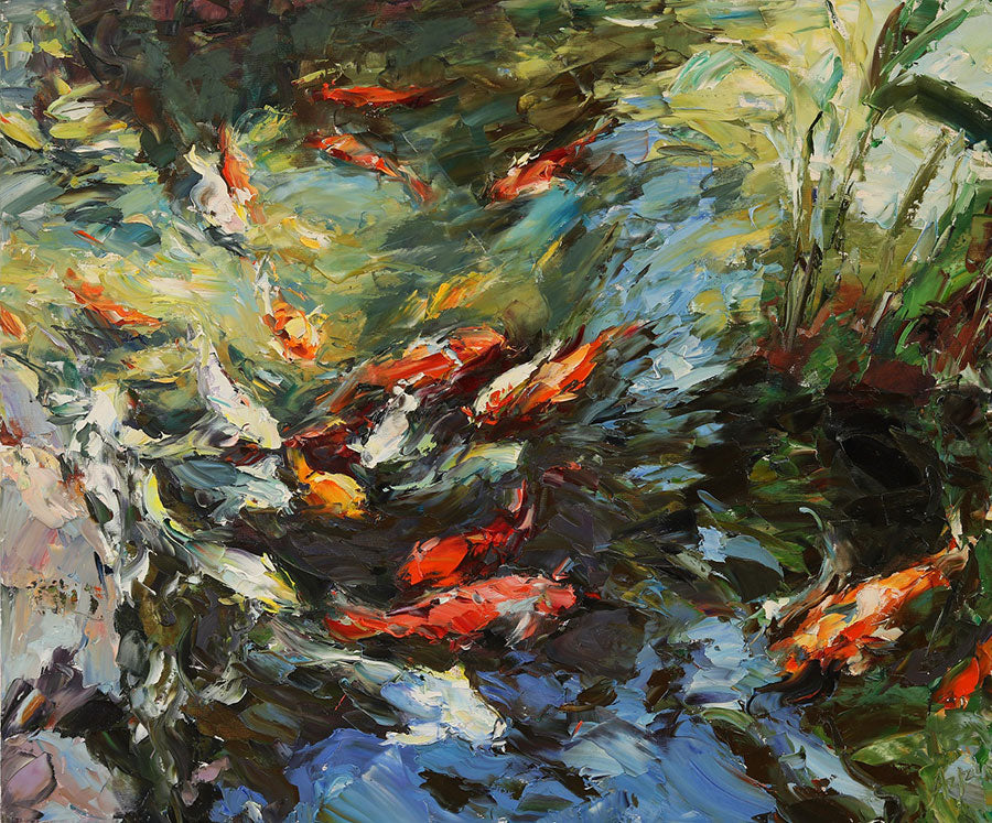 Koi Pond original oil on canvas painting by Denver Colorado artist Lyudmila Agircg