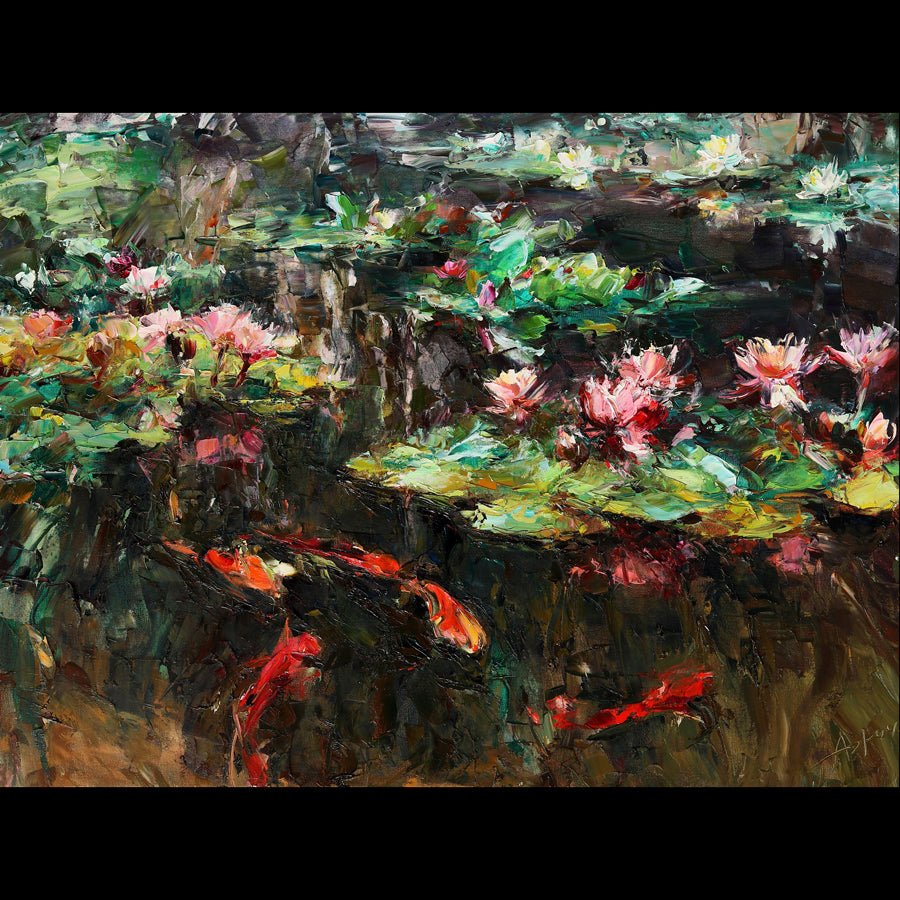 Koi and Lotuses original painting by Lyudmila Agrich for sale at Raitman Art Galleries
