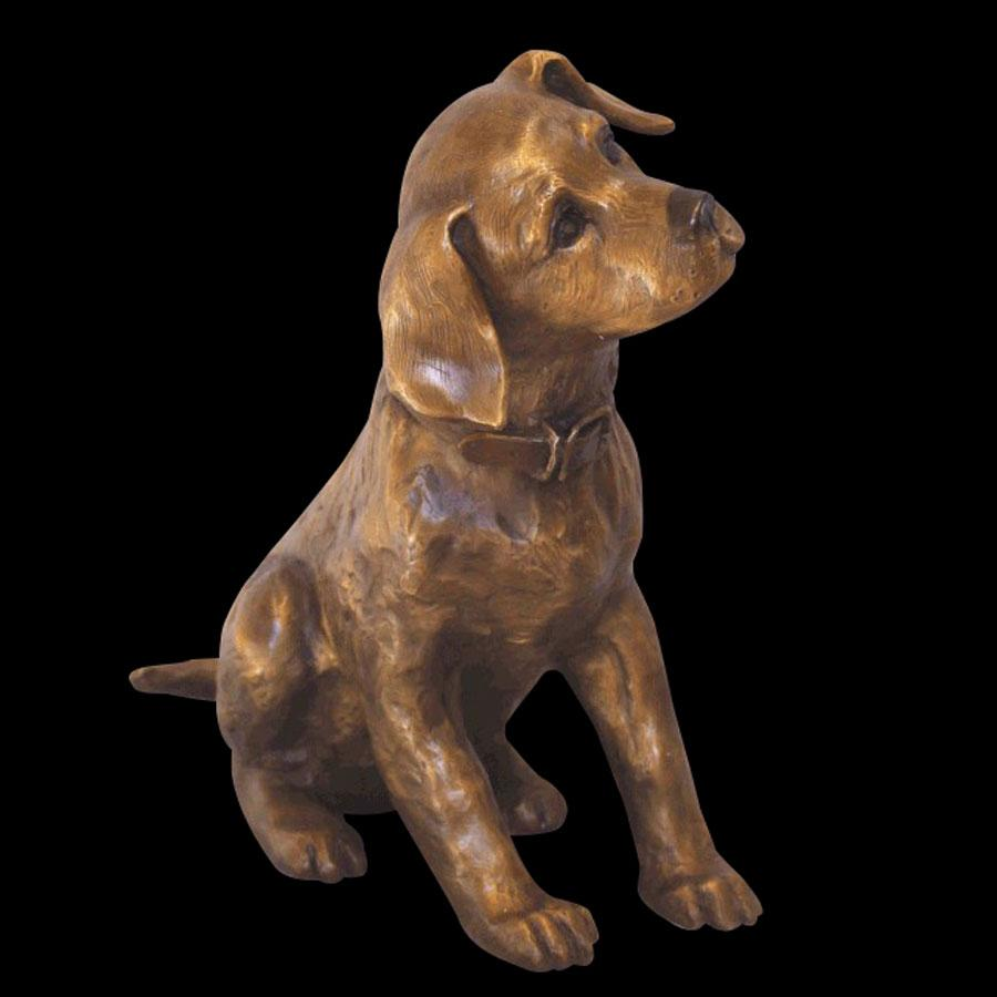 Lab Puppy bronze sculpture by artist Marianne Caroselli