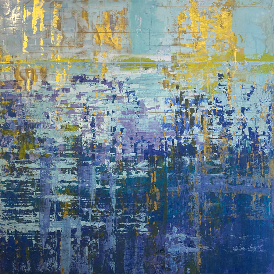 Lake Reflection original abstract painting by Kristof Kosmowski for sale at Raitman Art Galleries located in Breckenridge and Vail Colorado
