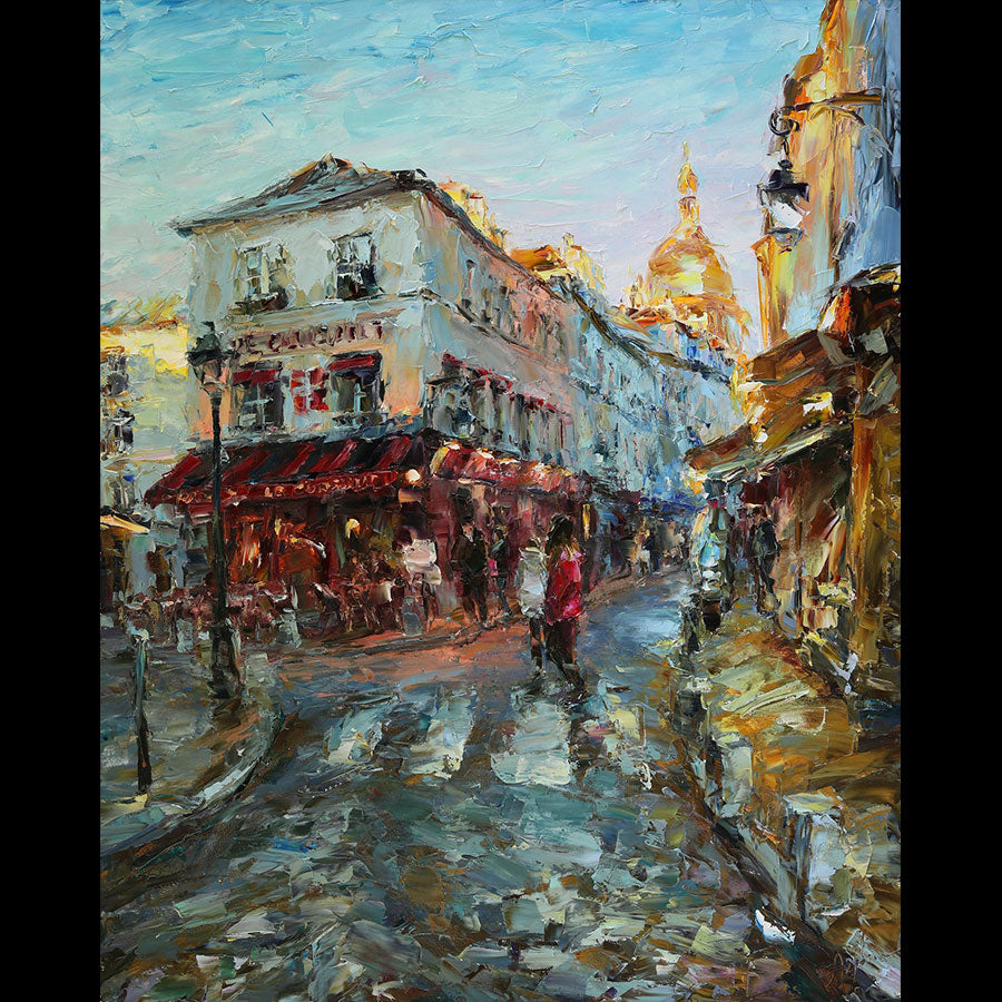 Last Rays Over Montmartre original oil on canvas landscape painting by denver colorado artist Lyudmila Agrich