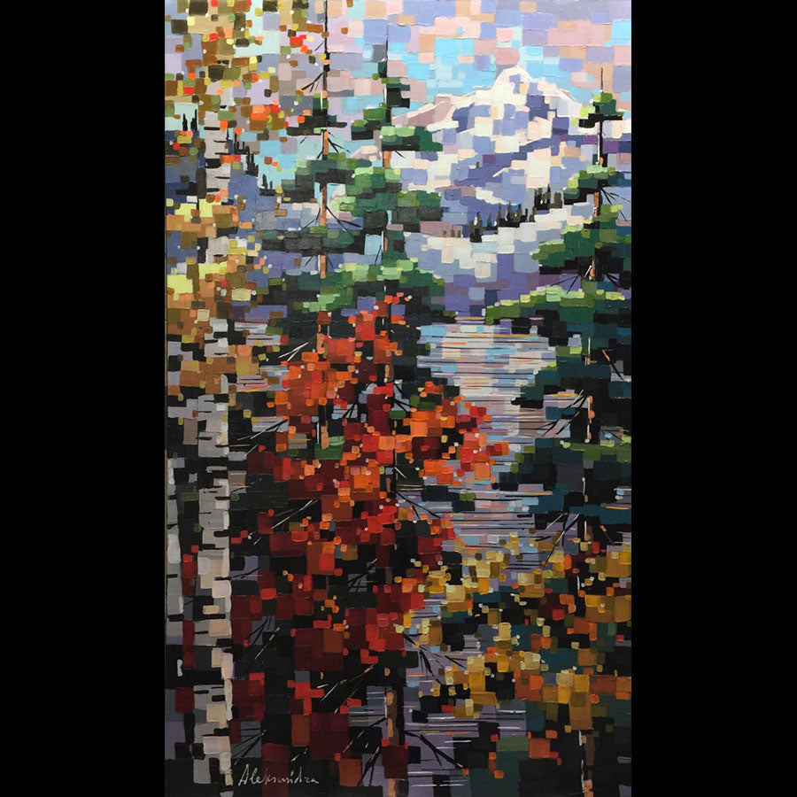 Late Fall original acrylic on canvas landscape painting by Toronto based artist Aleksandra Rozenvain