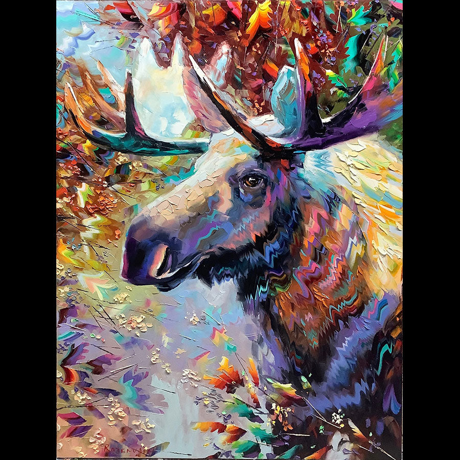 Leader original oil on canvas moose wildlife painting by artist Michael Rozenvain
