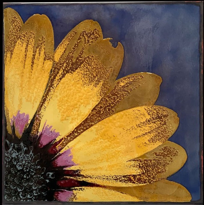 Lemon Symphony daisy glass on copper spiritile by houston llew