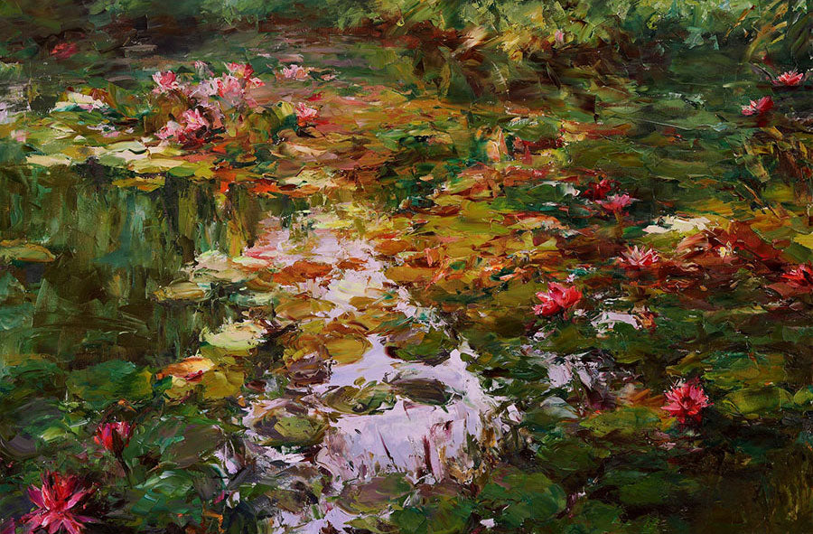 Lotus Garden oil painting by artist Lyudmila Agrich
