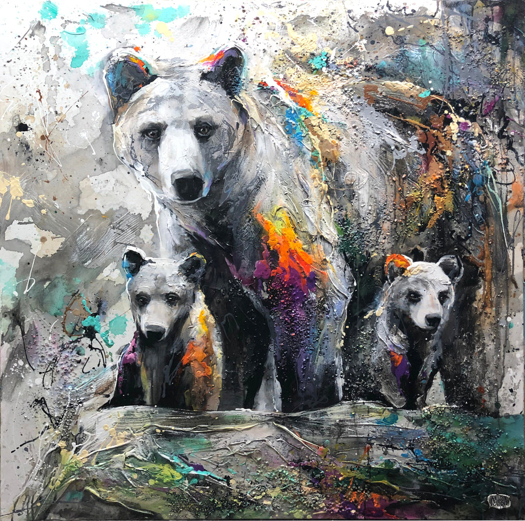 Loving Family original acrylic on canvas wildlife painting by Colorado artist Miri Rozenvain