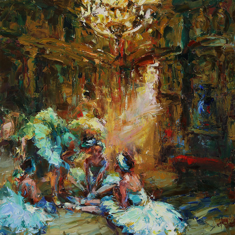 Magic World of Theater original oil on canvas  palette knife painting by artist Lyudmila Agrich