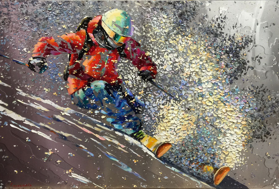 magical day on the slopes original oil on metal painting by artist michael rozenvain