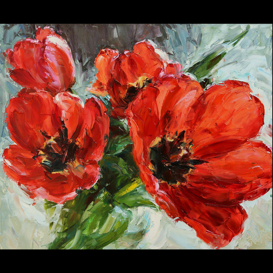 Magnificent Tulips original flower painting by Lyudmila Agrich for sale at Raitman Art Galleries