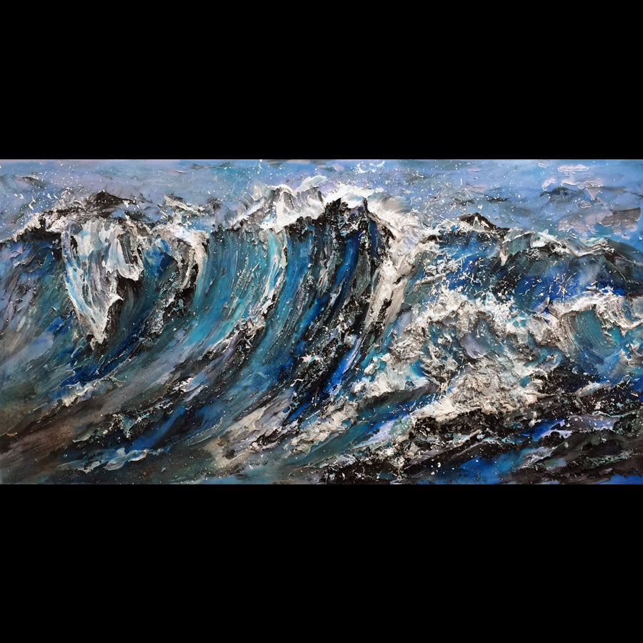 Majestic Waves original ocean painting artist barak rozenvain art for sale