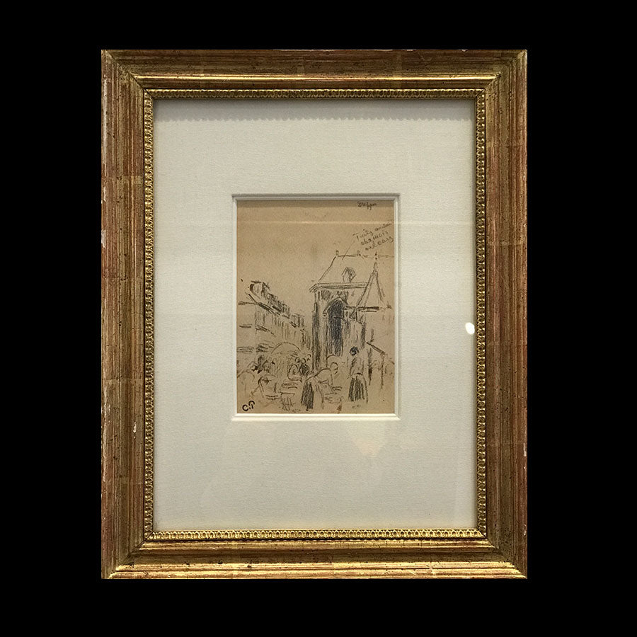 Marche A Dieppe original Camille Pissarro sketch of ancient France