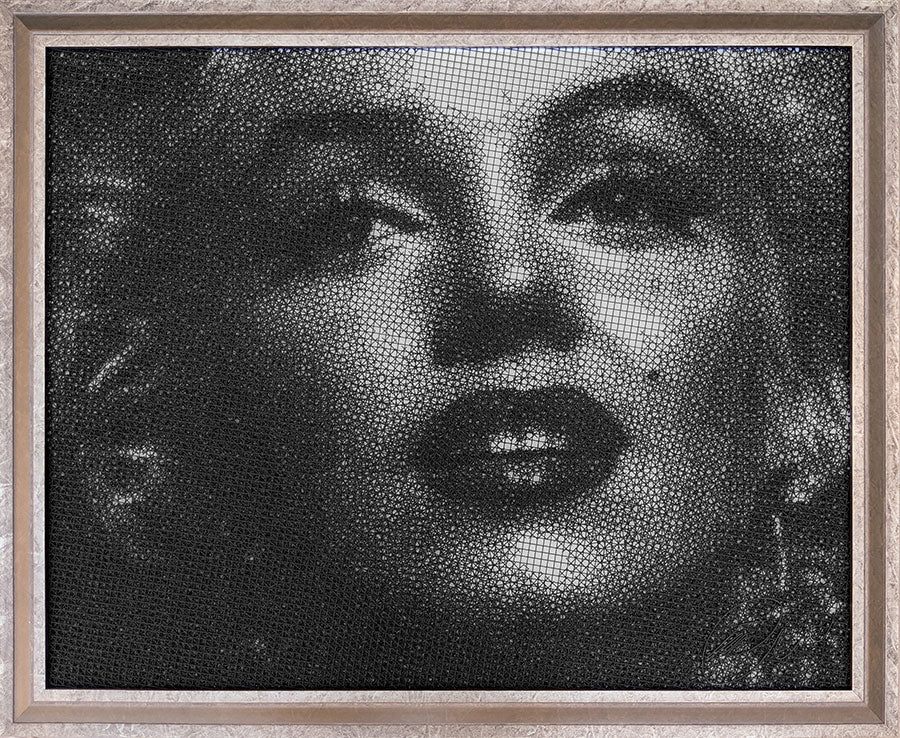 Marilyn Monroe painting in wire mesh by artist Fekadu Mekasha