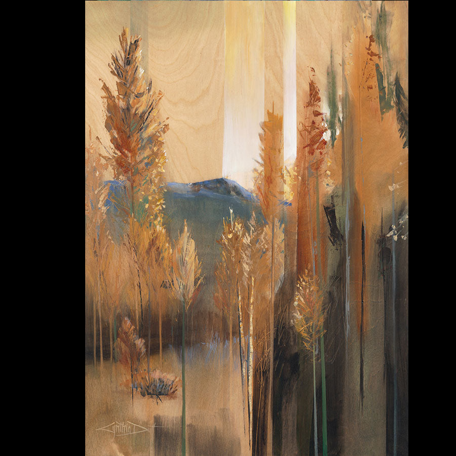 Mass Appeal original acrylic on birch wood landscape painting by Colorado artist Cynthia Duff