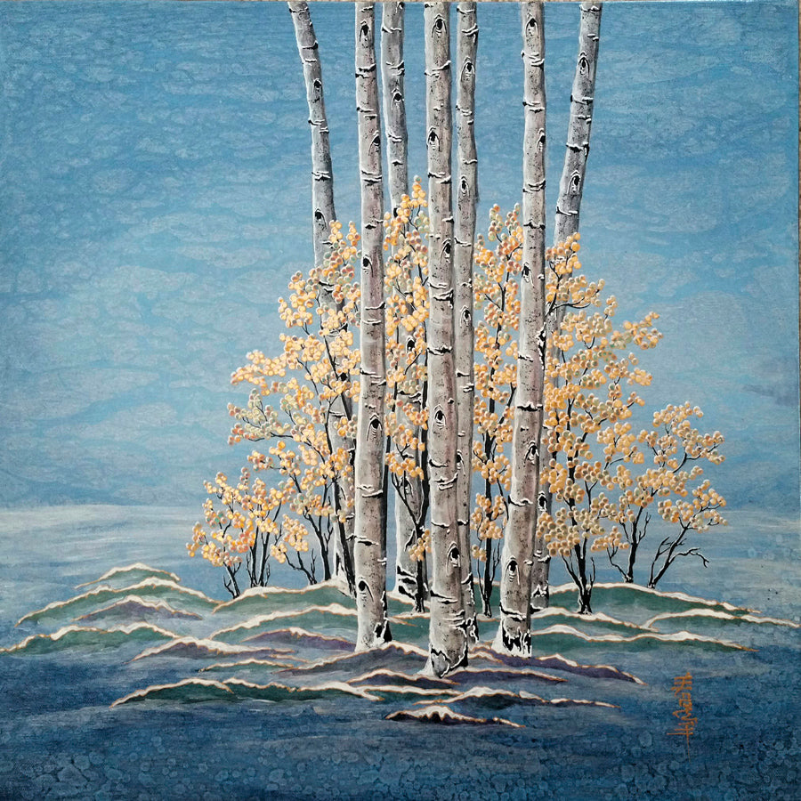 Mid-October Stillness aspen landscape painting by artist Kate McCavitt