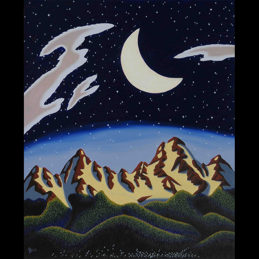 Midnight Moon original oil on panel mountain painting by Colorado artist Tracy Felix