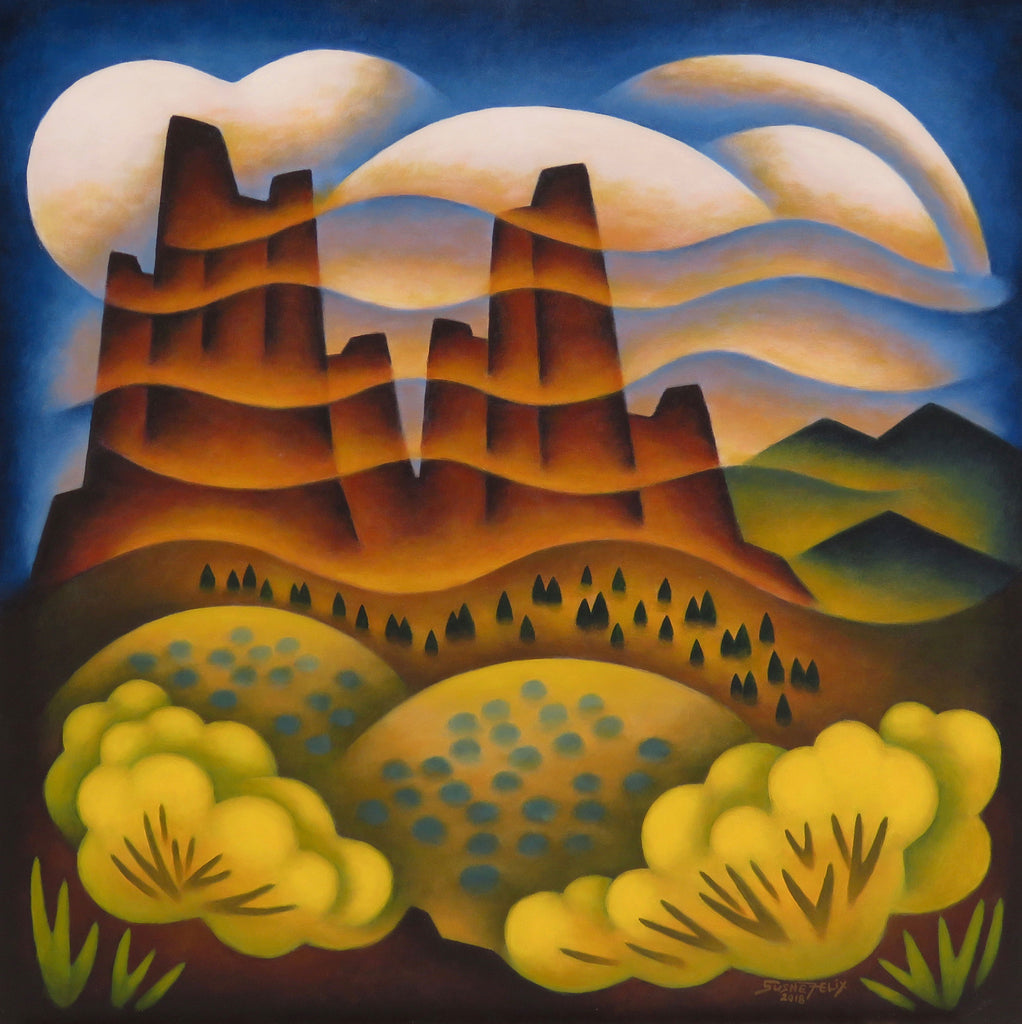 Misty Towers original acrylic on panel landscape painting by Colorado artist Sushe Felix