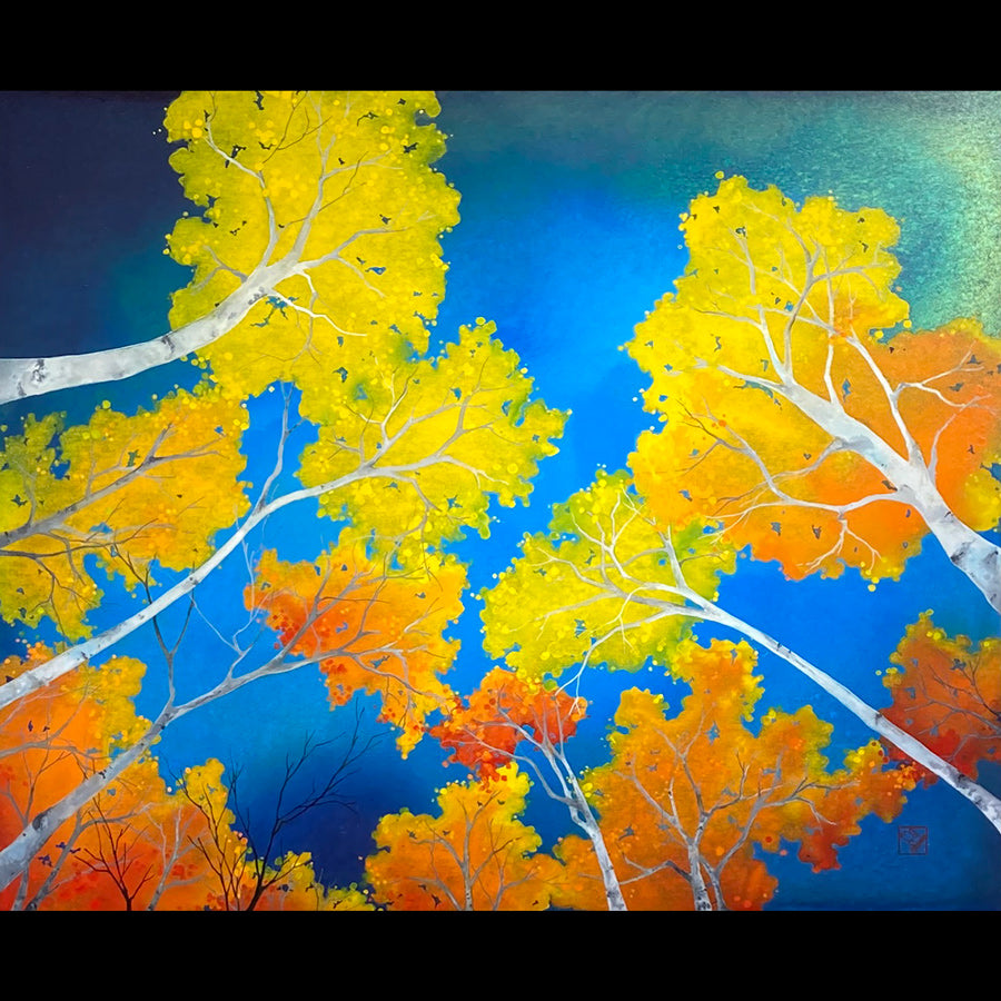 Moment of Clarity original autumn aspen landscape painting by artist Kay Stratman