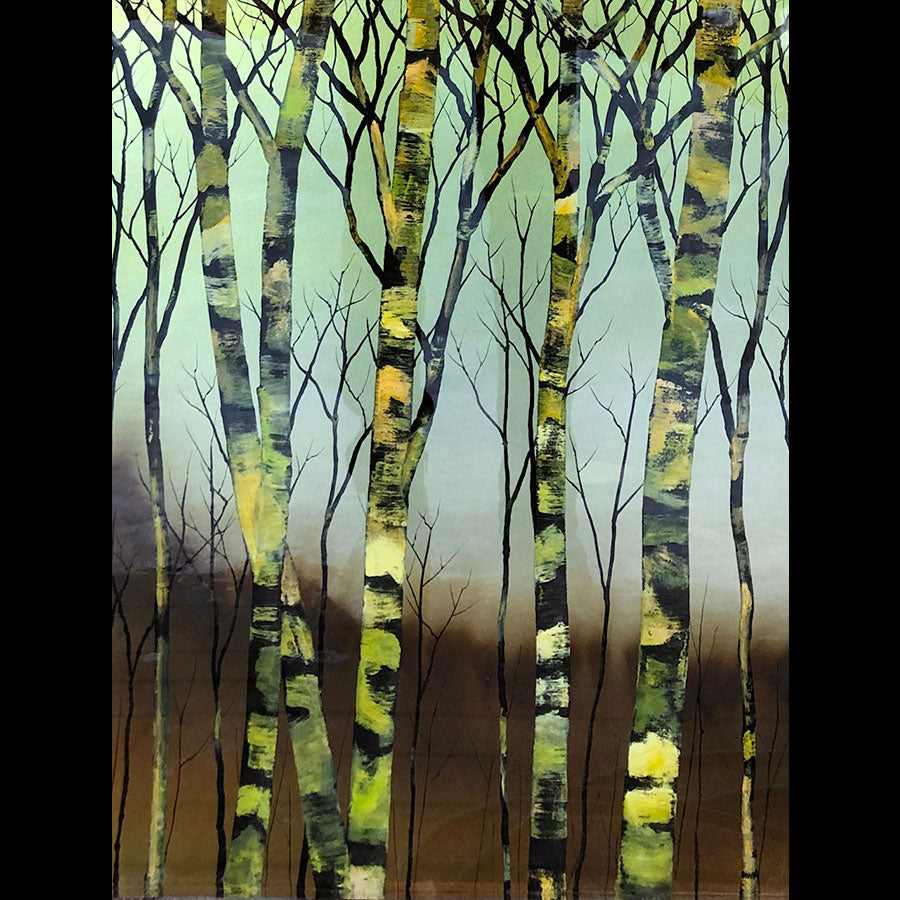 Monochrome original tree painting on a hand carved cast acrylic canvas by Colorado based artist Christopher Owen Nelson
