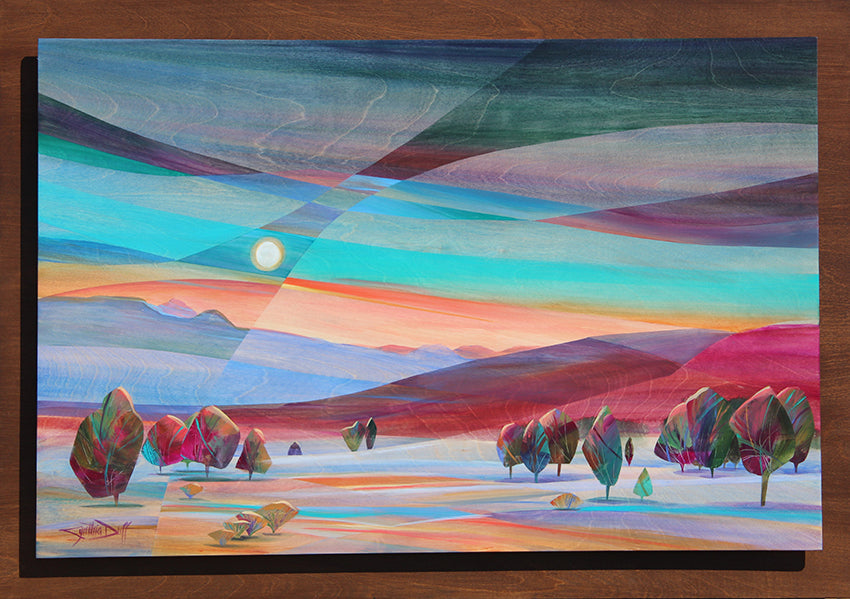 Moon Kissed original acrylic on birch wood painting by Colorado artist Cynthia Duff