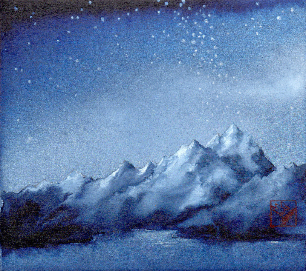 The Moonlight Magic 2 original watercolor mountain landscape by Colorado artist Kay Stratman