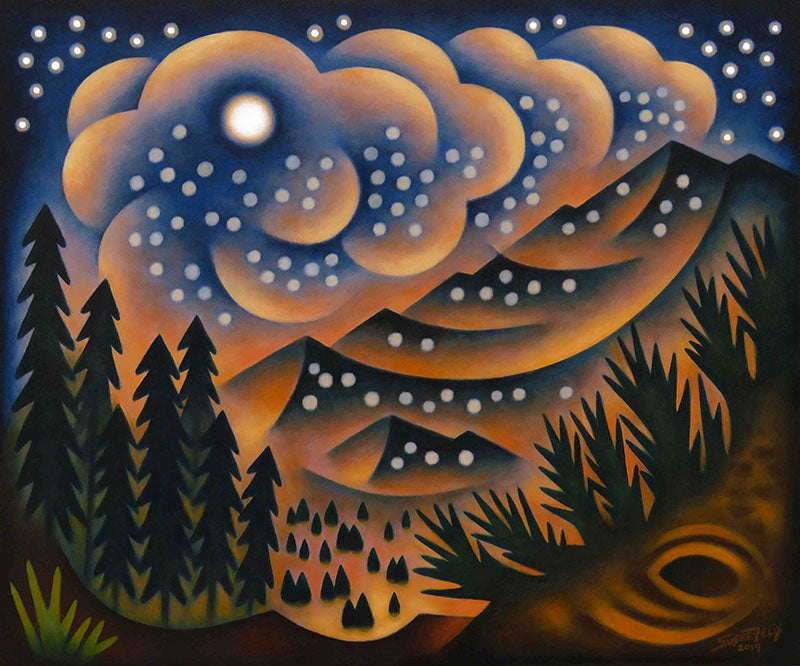 Moonlit Flurries original acrylic on panel landscape painting by Colorado artist Sushe Felix