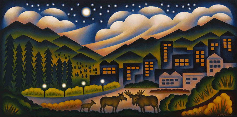 Moose On The Town original oil on panel landscape painting by Colorado artist Sushe Felix