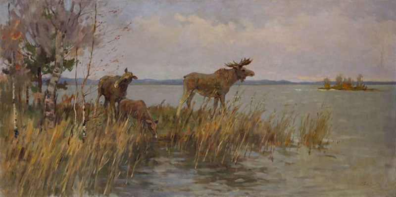 Russian Elk Moose painting is an original oil on canvas painting by russian artist Leonid Petrovich Baikov